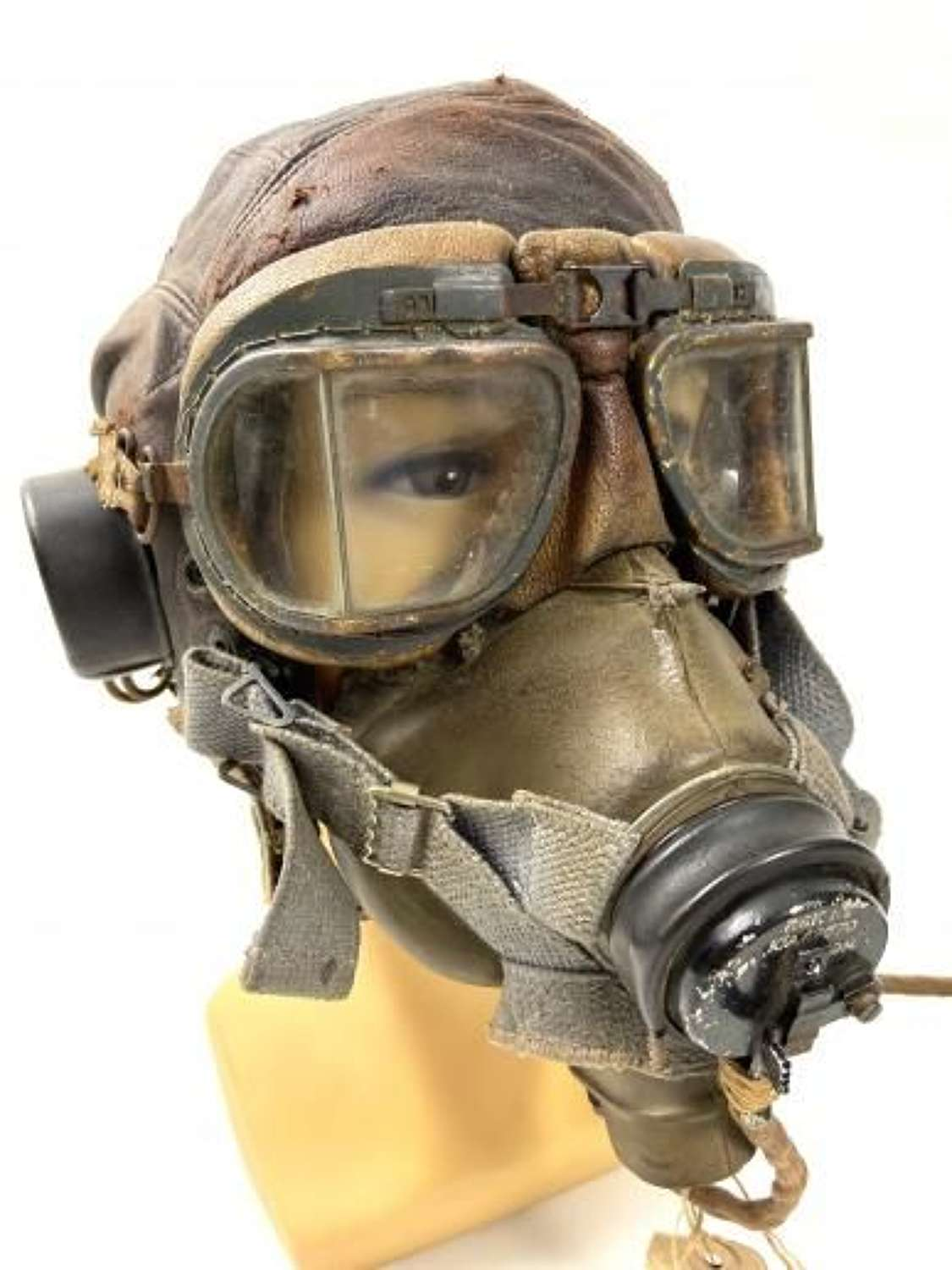 Original WW2 RAF C Type Flying Helmet, G Type Mask and MK VIII Goggles Set