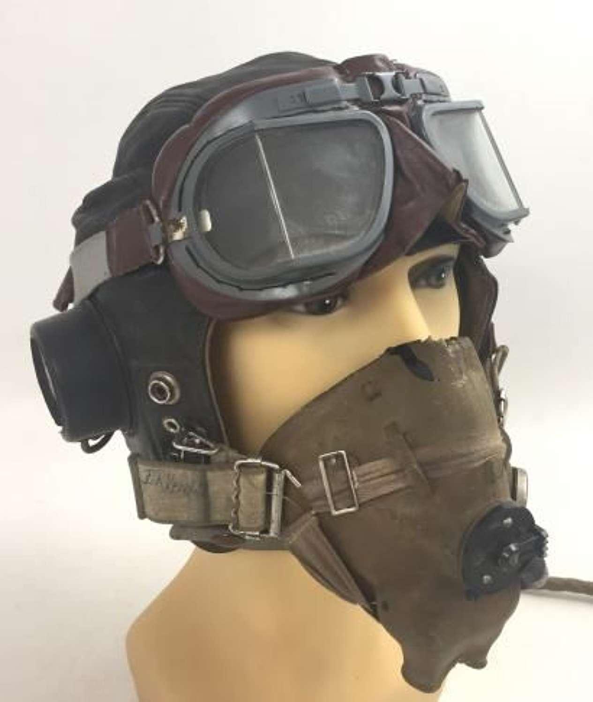 Original C - Type Flying Helmet, H - Type Oxygen Mask + MK VIII Goggles Named to I R KENDALL