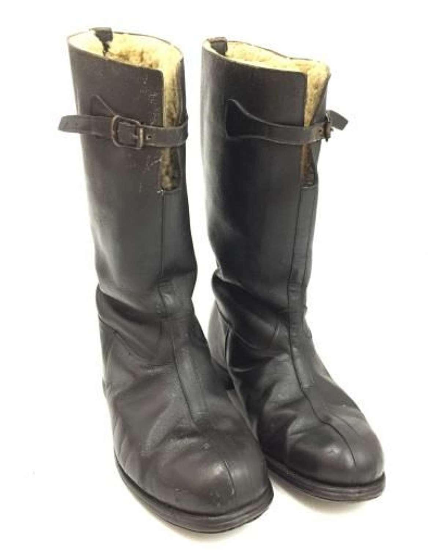 Original 1940s Period Sheepskin Boots by 'Hawkins' - Size 8