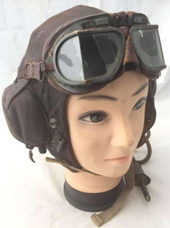 Fleet Air Arm C Type Flying Helmet with Wiring Loom