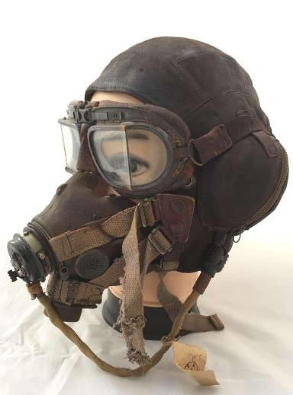 Original WW2 C-type Flying Helmet, G-Type Oxygen Mask and MK VIII Gogg
