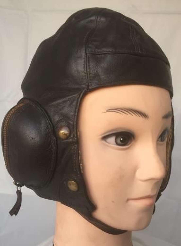 Original Named RAF B-type Flying Helmet Size 2