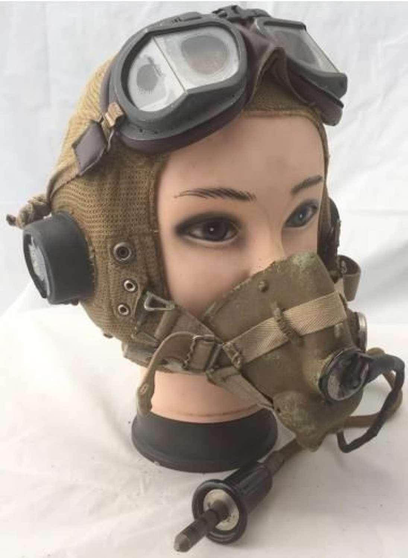 RAF E-Type Flying Helmet, H-Type Oxygen Mask + MKVIII Goggles