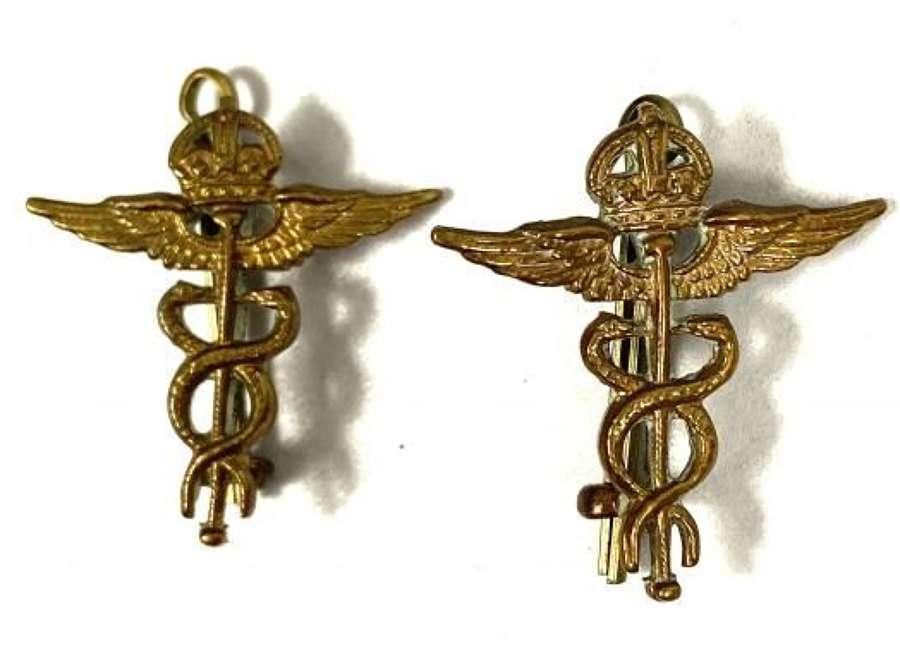 Original WW2 RAF Medical Branch Brass Collar Insignia
