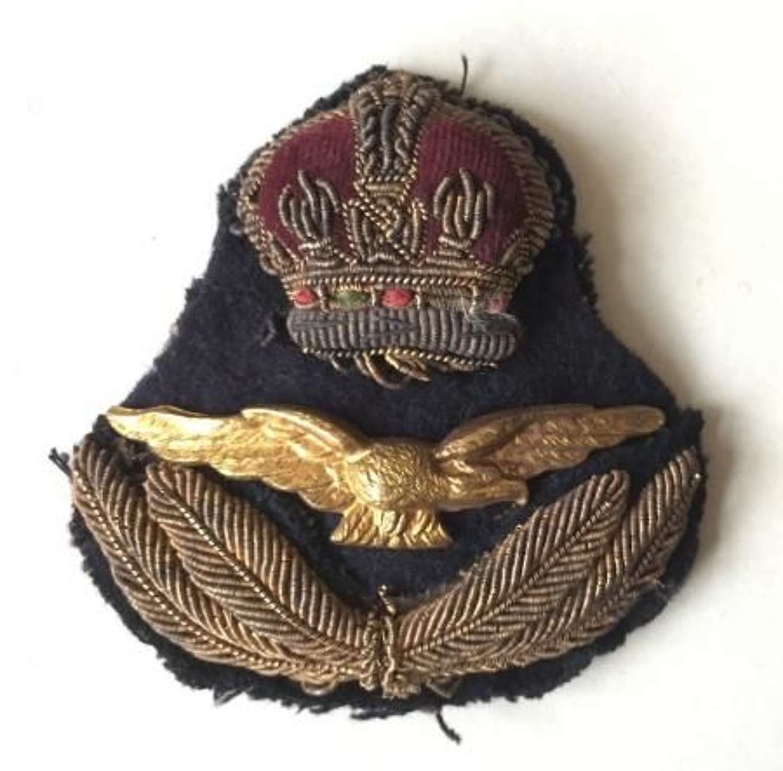 Original Pre / Early WW2 RAF Officers Cap Badge