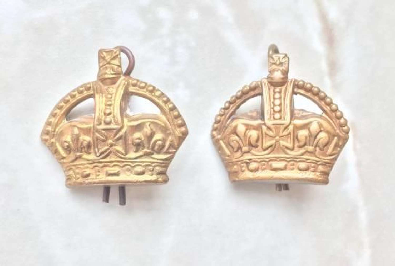 Original WW2 Period Brass RAF Flight Sergeant Crowns