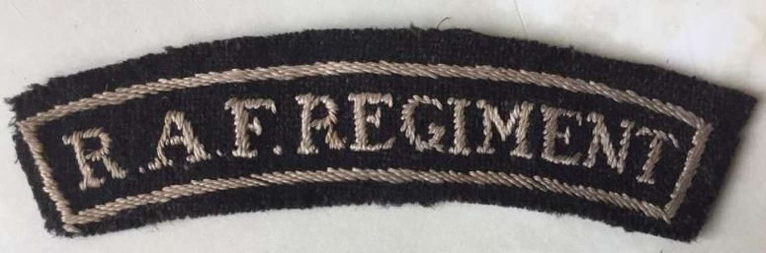 Original WW2 Theatre Made RAF Regiment Shoulder Title