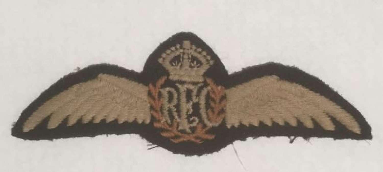 Original Royal Flying Corps Pilots Wings RFC