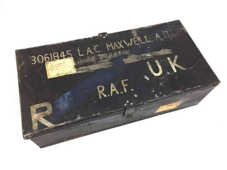 Original WW2 RAF Ordinary Airman's Tin Trunk - LAC Maxwell