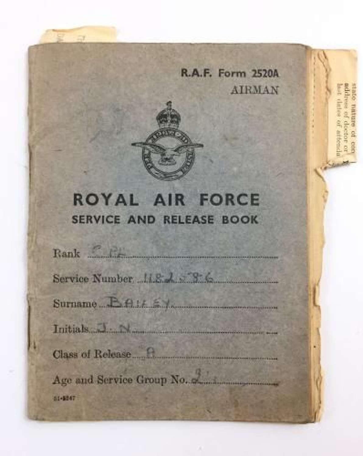 'Royal Air Force Service and Release Book' named to Bailey + Extra Paperwork