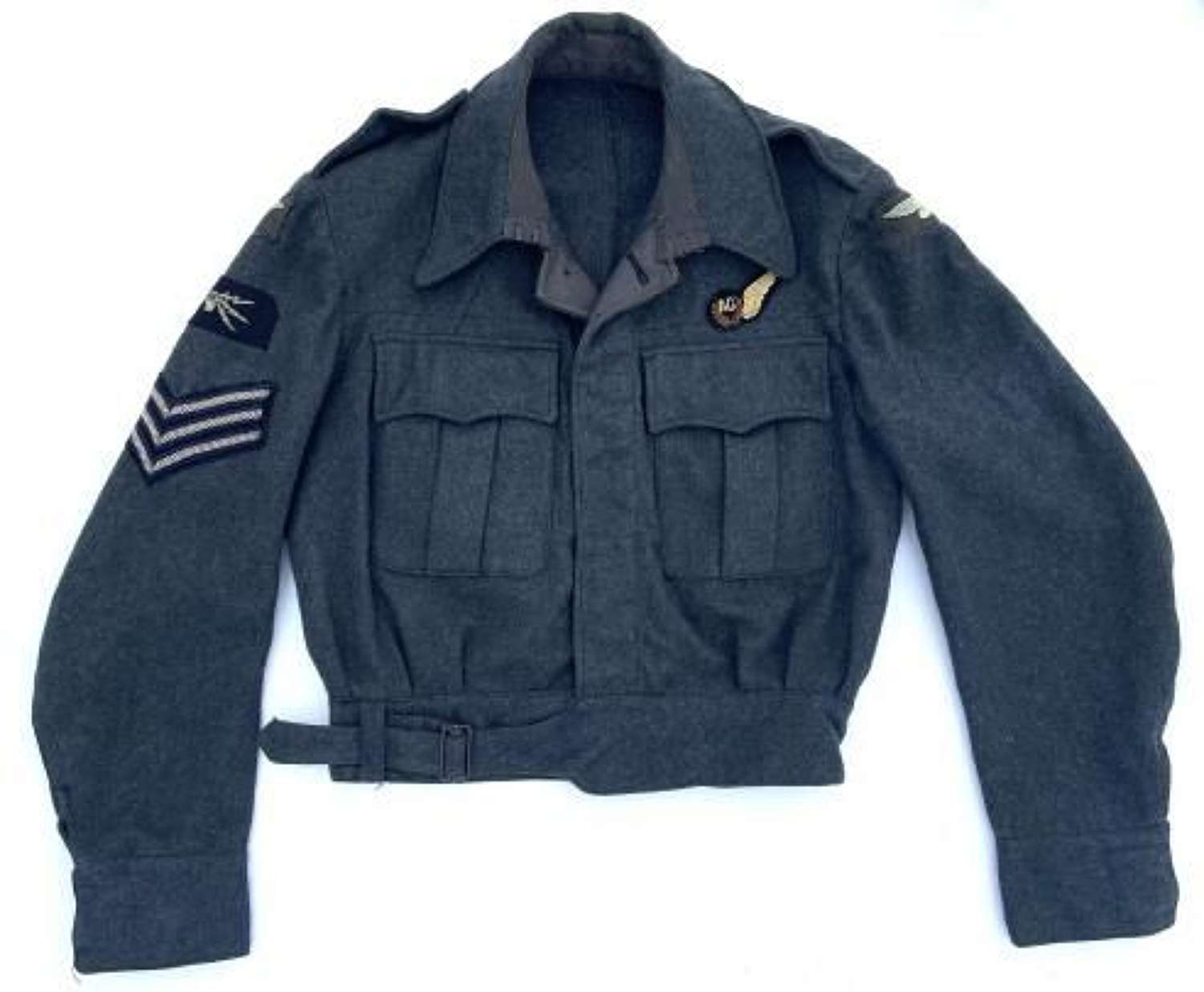 Original 1944 Dated RAF War Service Dress Blouse with Sgt Air Gunner Insignia