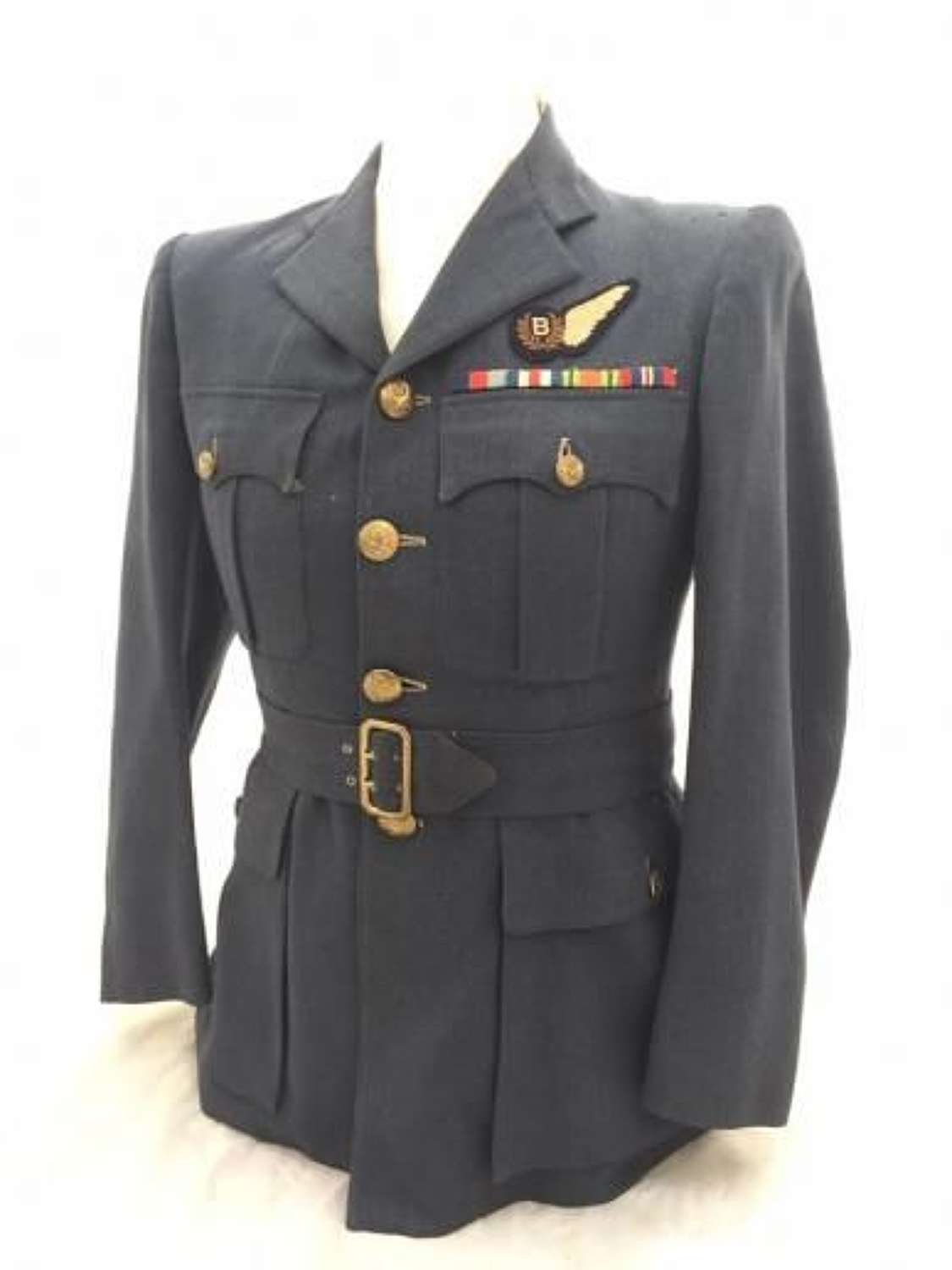 Original Wartime RAF Officers Service Dress Tunic With Bomb Aimers Bre