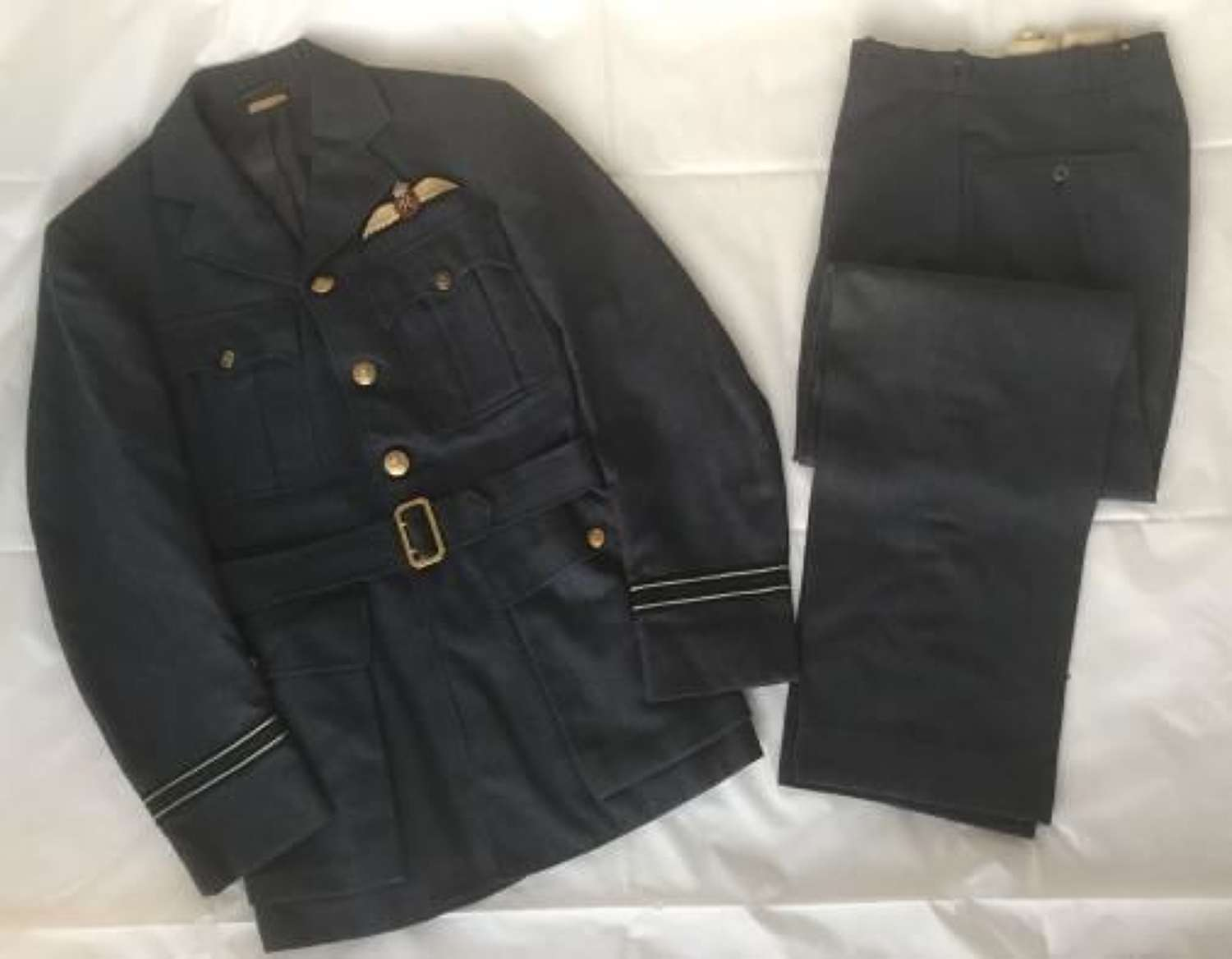 WW2 American Made RAF Officers Service Dress Jacket and Trousers Named To a Pilot