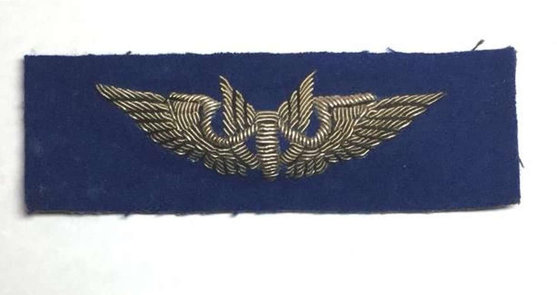 Original USAAF Blue Backed Bullion Aerial Gunner Wing