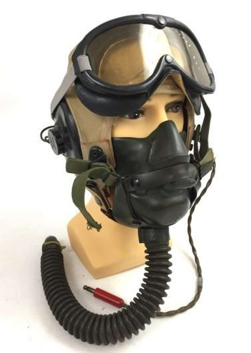 Original WW2 USAAF AN-H-15 Flying Helmet, A14 Oxygen Mask and B-8 Flying Goggles Set