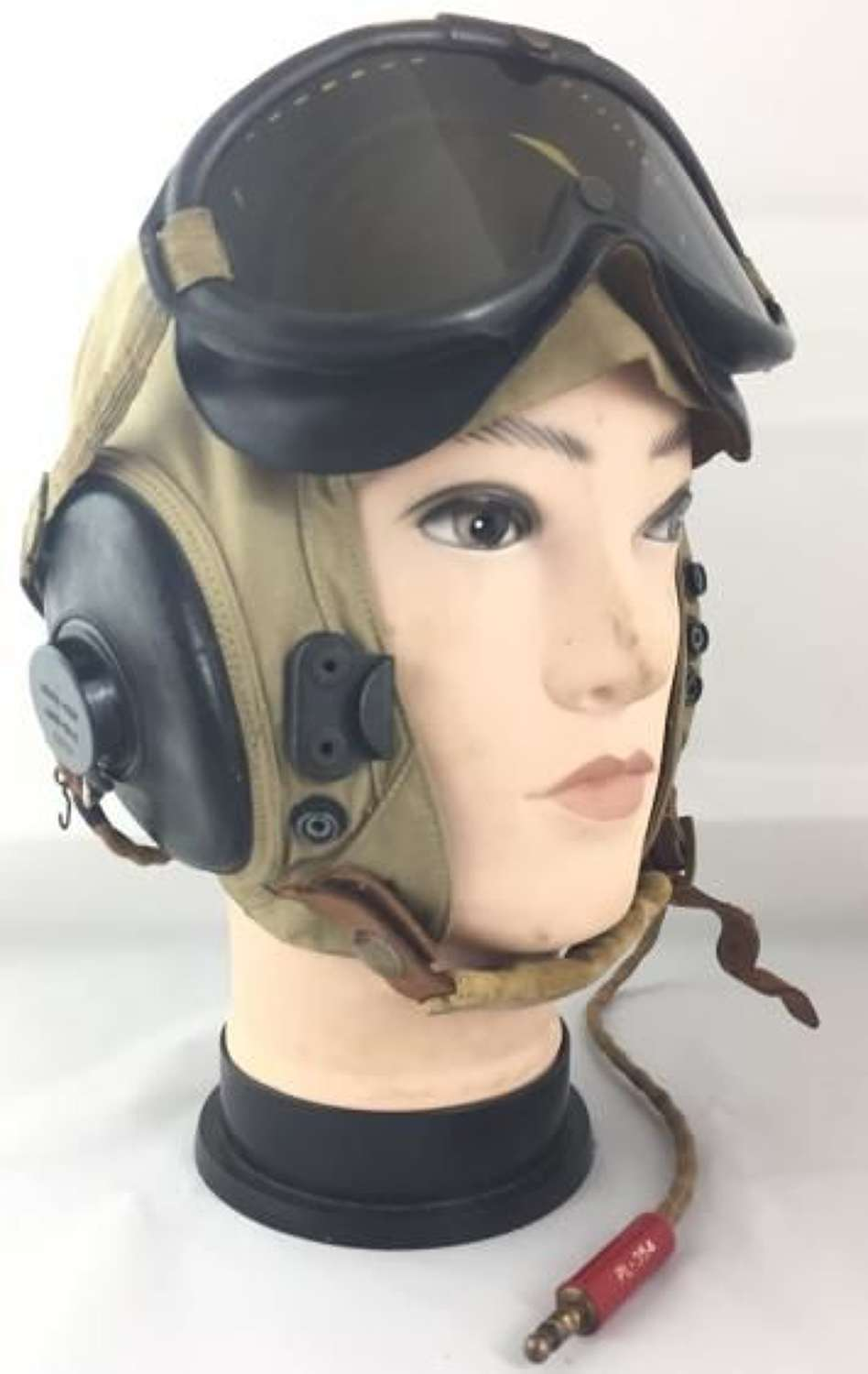 Original WW2 USAAF Summer Flying Helmet A-NH-15 + ANB-H-1 Receivers  - Extra Large!