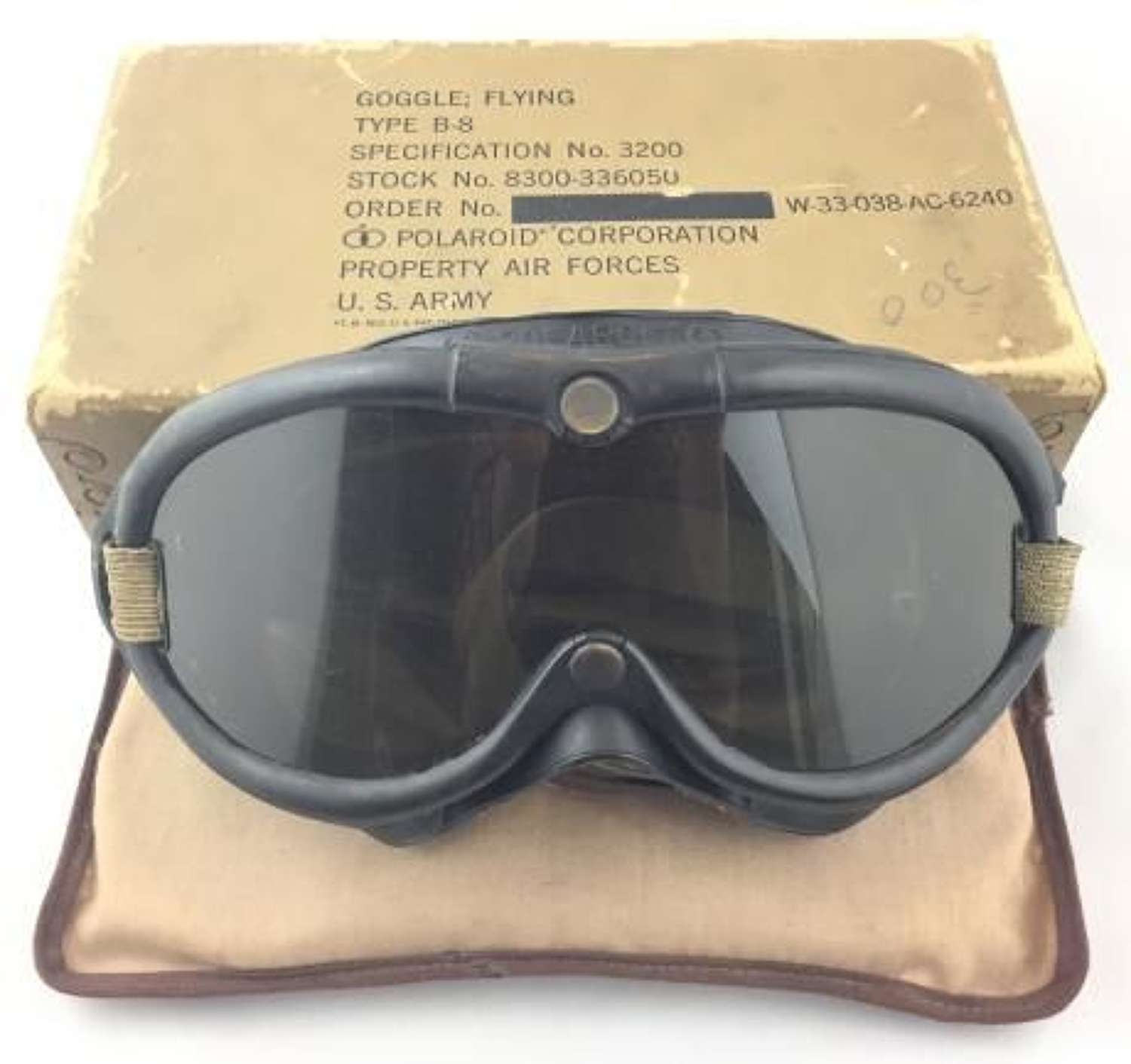 Original WW2 USAAF B8 Polaroid Flying Goggles, Box and Spare Lenses