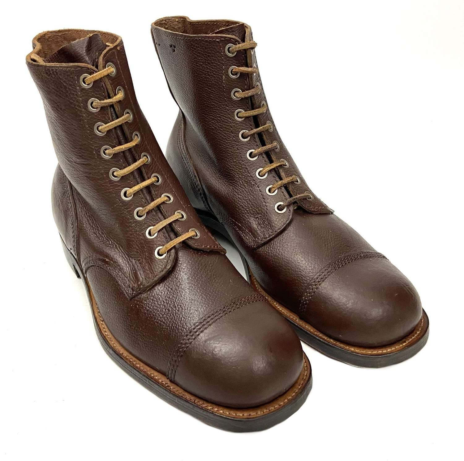 Original 1945 Dated Swedish Army Brown Leather Ankle Boots - Size 10