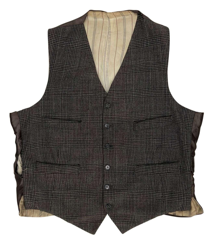 Original 1950s Men's Prince of Wales Check Waistcoat