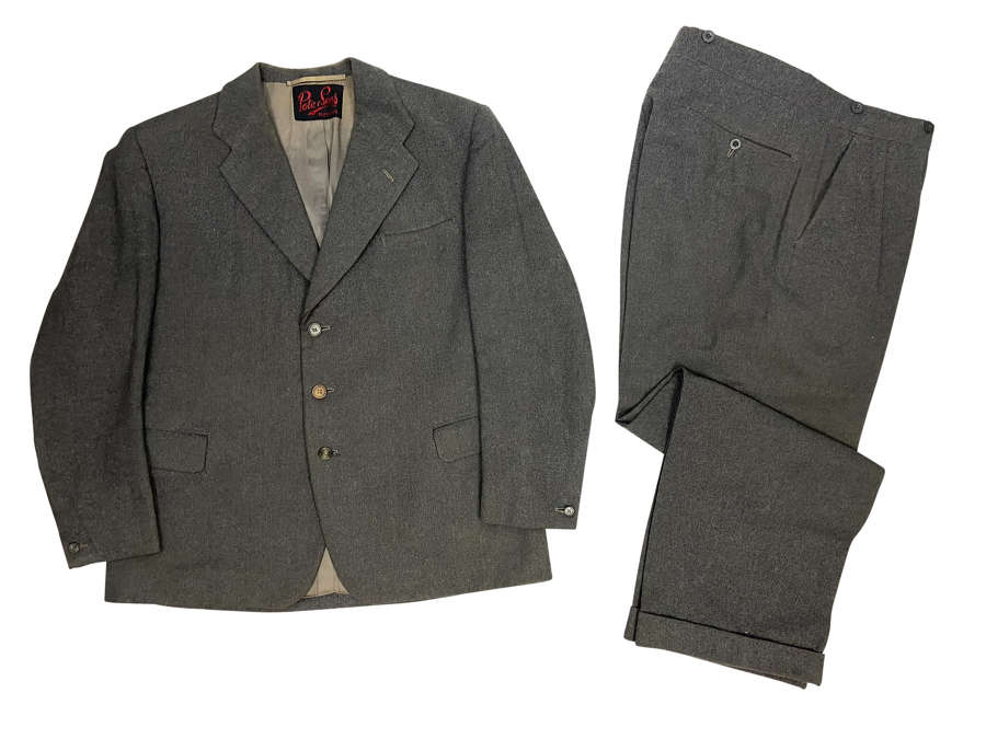 Original 1960 Dated Men's Grey Flannel Suit by 'Pote & Sons'