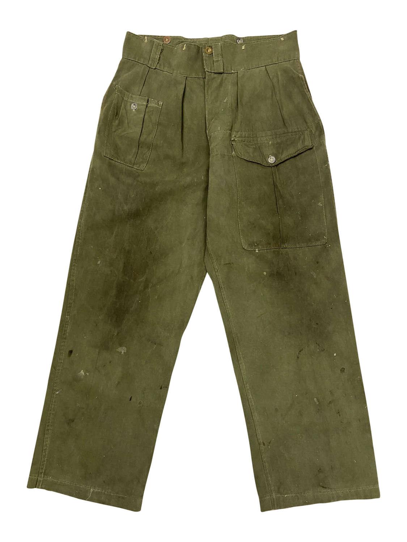 Original 1945 Dated Indian Made Jungle Green Battledress Trousers