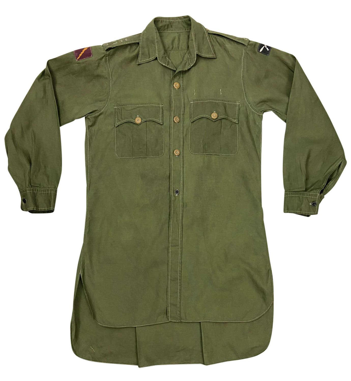 Original 1950s British Army Officers Jungle Green Aertex Shirt