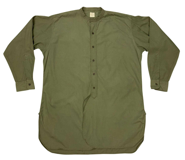 Original 1950s British Army Officers Green Poplin Collarless Shirt