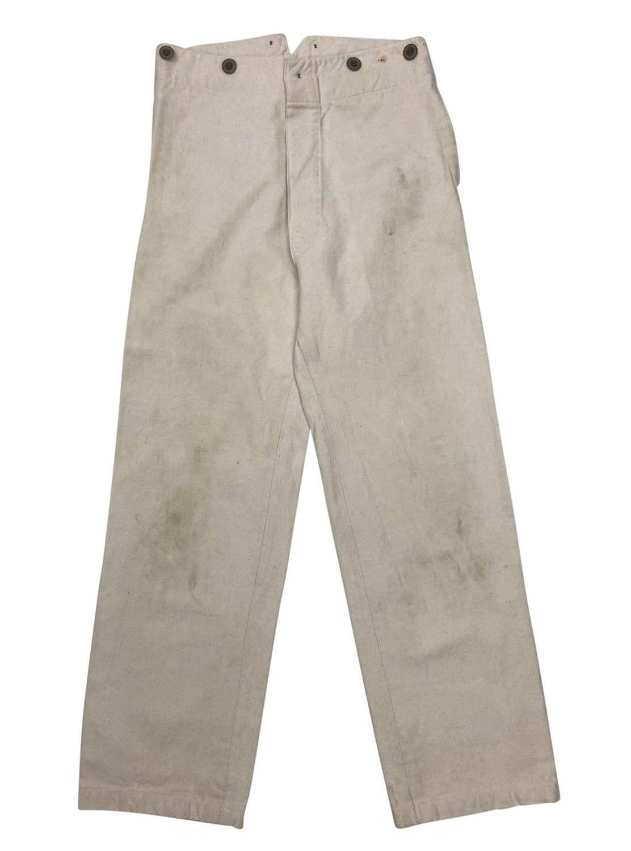 Original 1930s White European Workwear Trousers