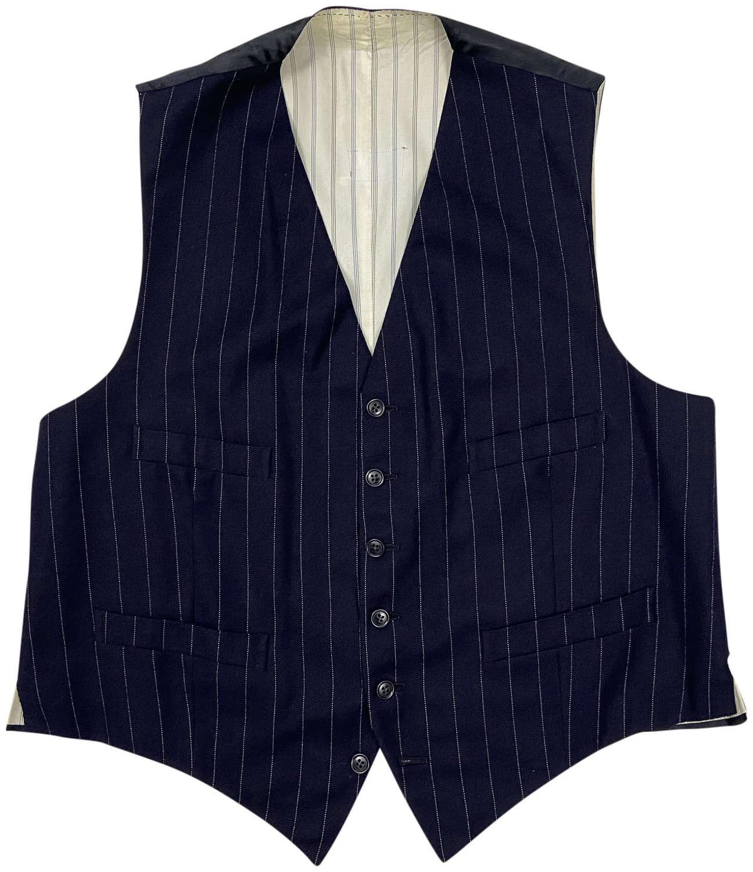 Original 1950s Men's Navy Blue Pinstripe Waistcoat
