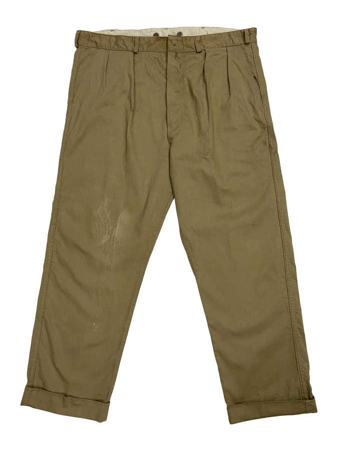 Original 1950s British Khaki Drill Work Trousers by 'Lybro'