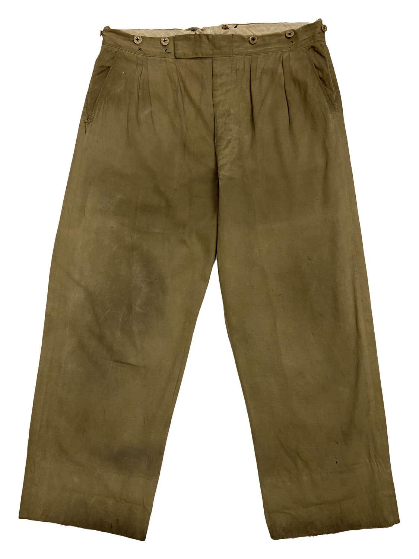 Original 1950s Men's Khaki Drill Workwear Trousers