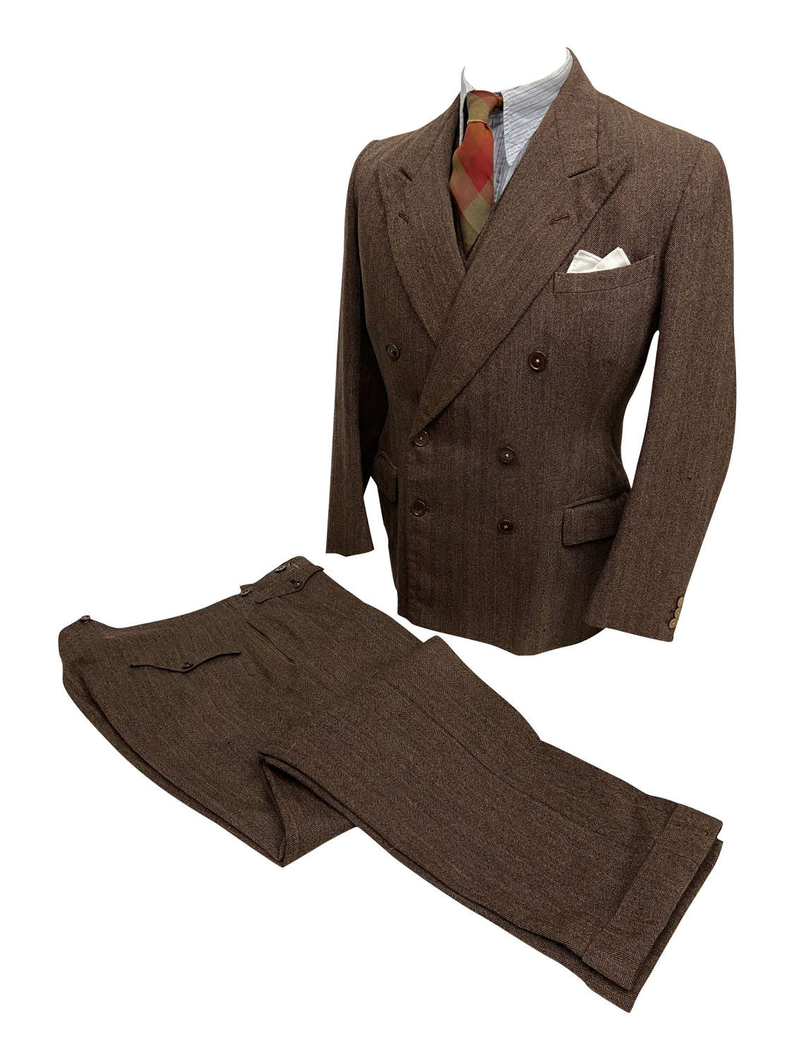 Original 1930s Three Piece Brown Herringbone Striped Suit