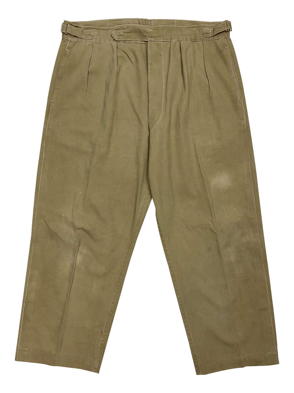 Original 1940s Khaki Drill Trousers - Large Size