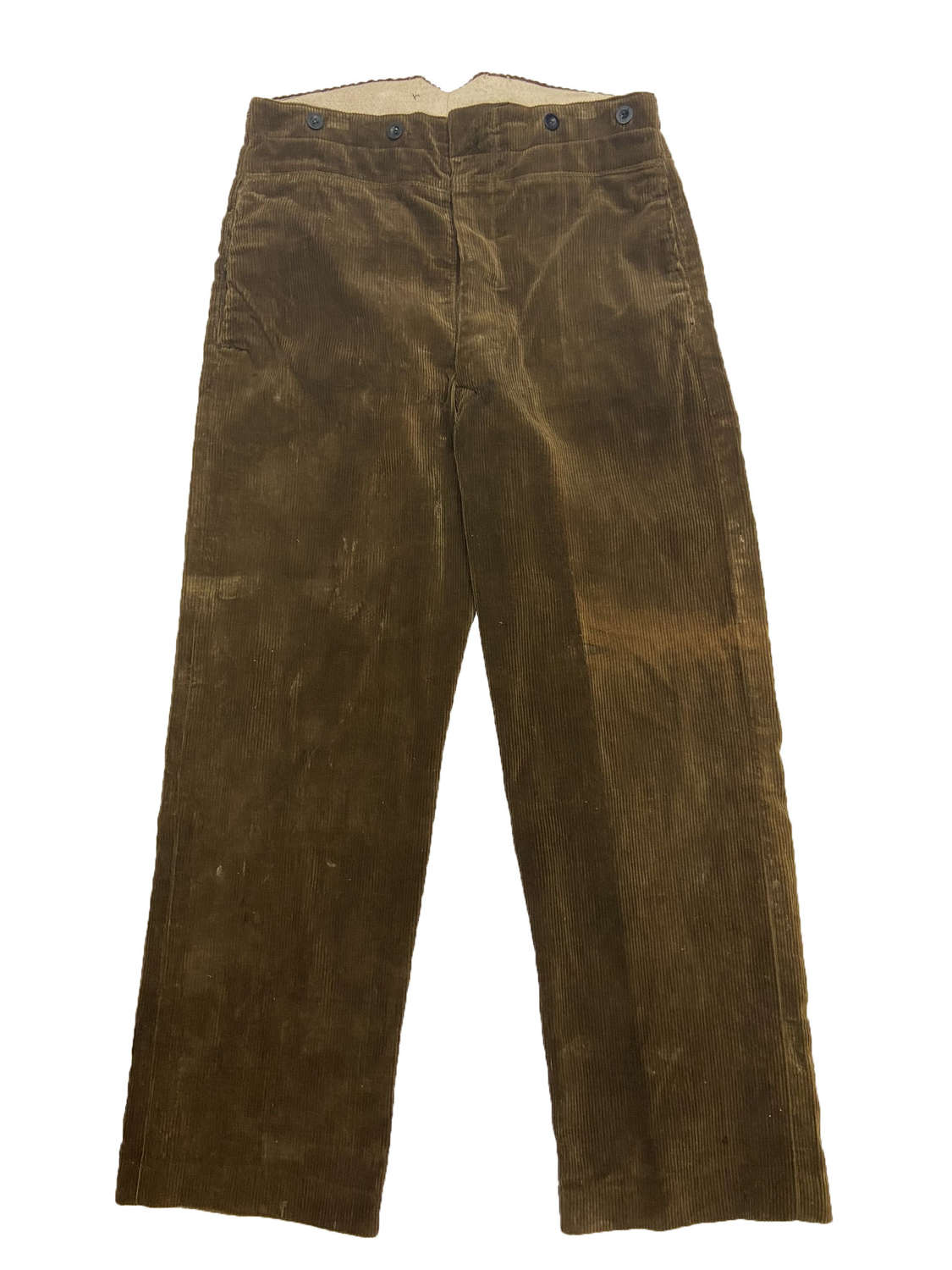 Rare Original 1940s CC41 Men's Brown Corduroy Trousers