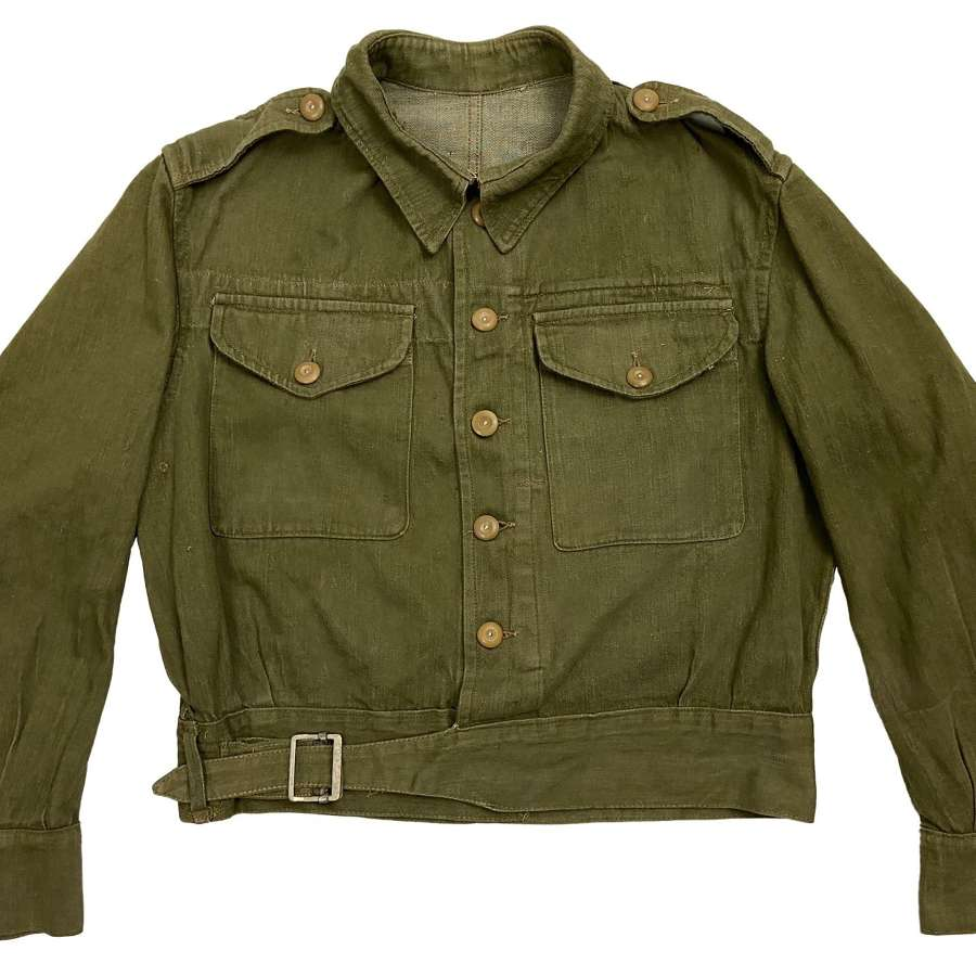 Original 1945 Dated British Army Denim Battledress Blouse - Size 8