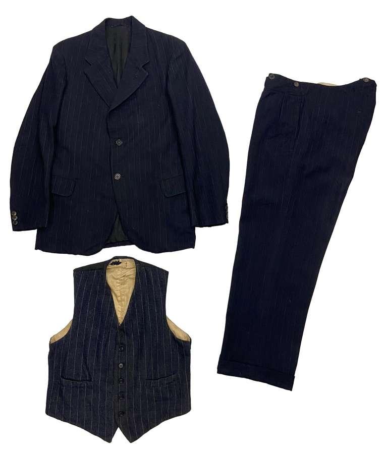 Original WW2 CC41 Utility Three Piece Men's Blue Pinstripe Suit