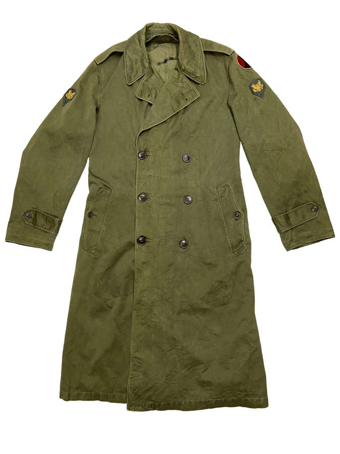 Original 1950s US Army O.G. 107 Raincoat - Size Small Long
