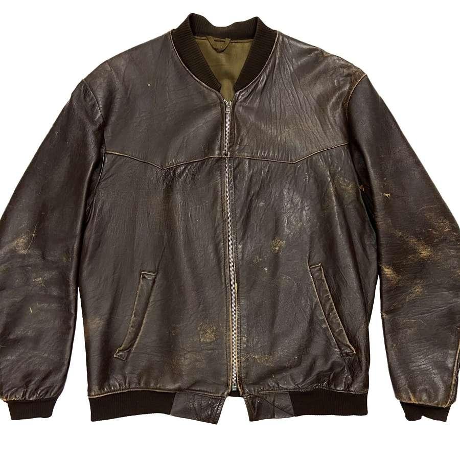 Original 1960s British Leather Bomber Jacket