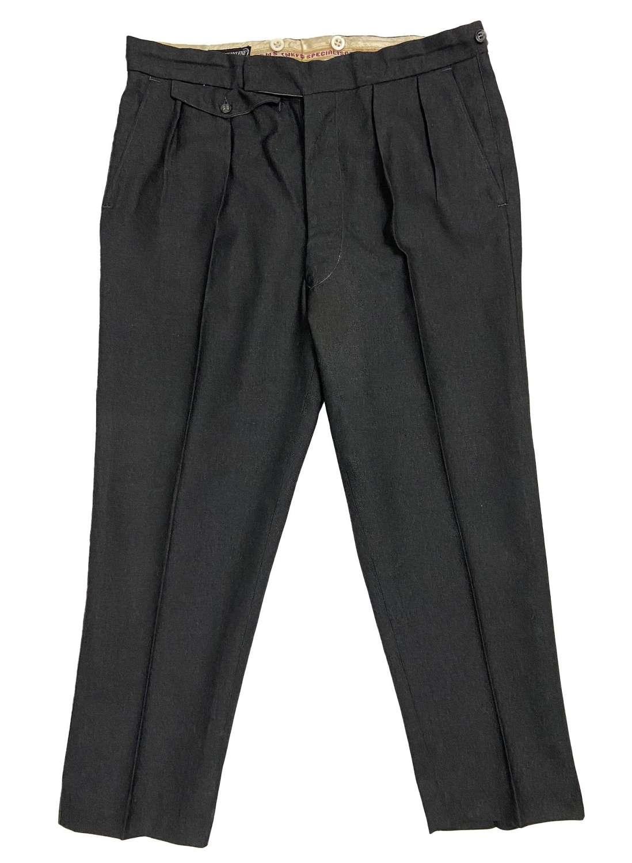 Original 1960s British Men's Grey Worsted Wool Trousers