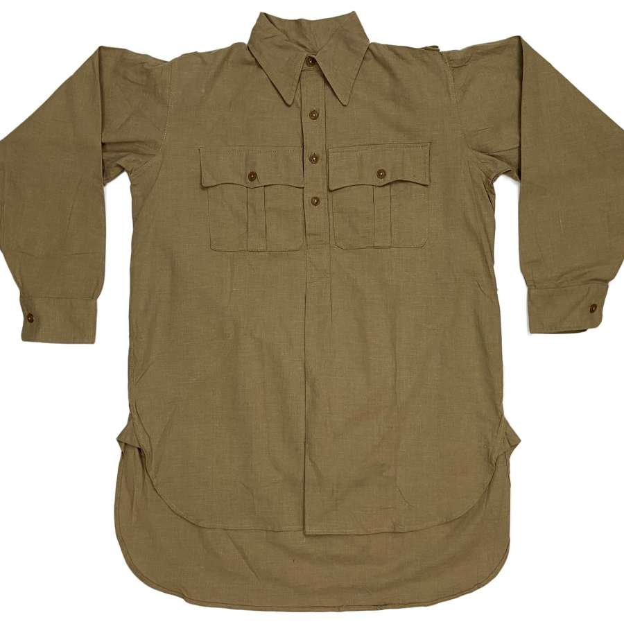 Original WW2 British Khaki Drill Cellular Cotton Shirt