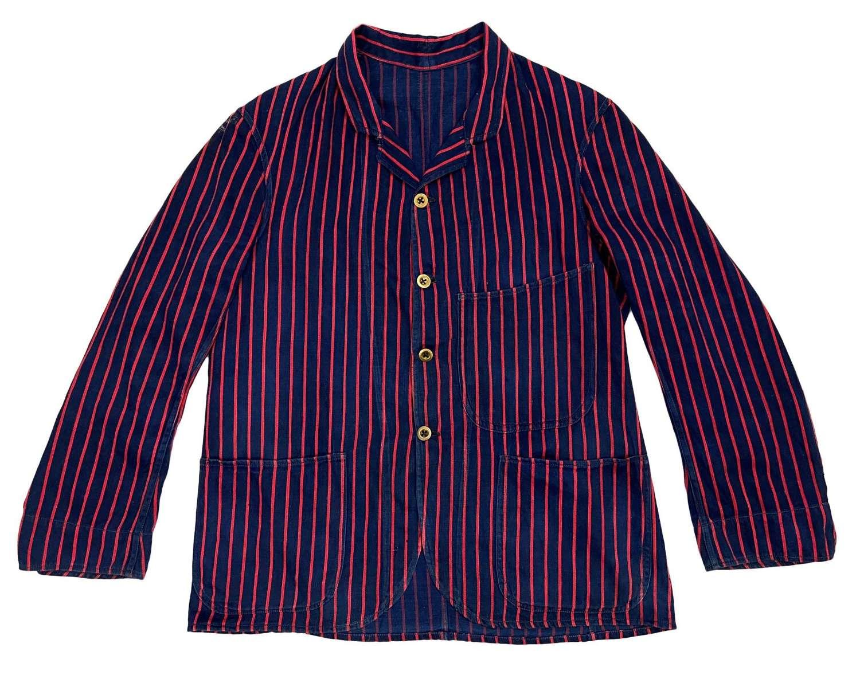 Original Edwardian British Navy Blue and Red Striped Workwear Jacket