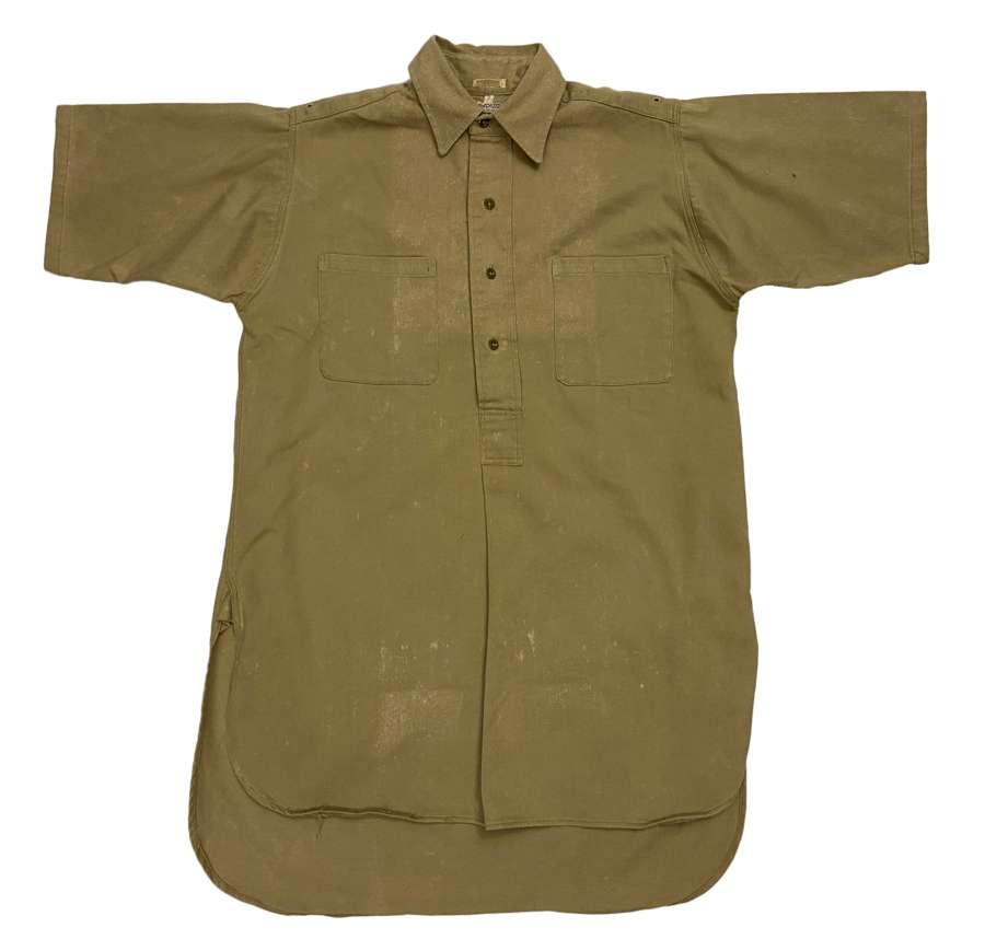 Original 1940s Royal Navy Khaki Drill Work Shirt