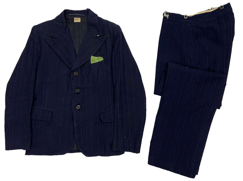 Original Distressed 1940s CC41 Two Piece Blue Pinstripe Suit