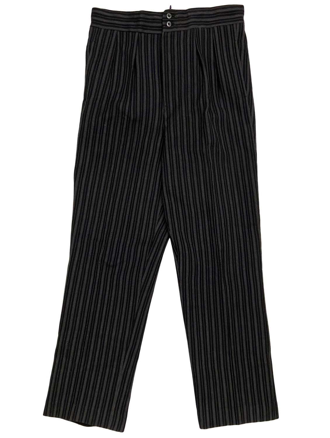Original 1940s French Men's Striped Work Trousers