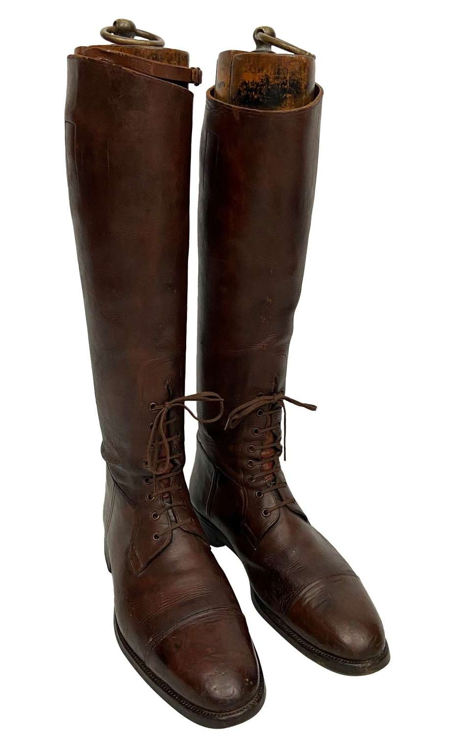 Original British Army Officer Brown Leather Field Boots - Welsh Guards