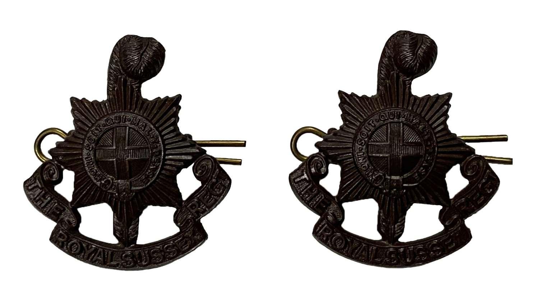 Original Post 1902 Royal Sussex Regiment Officers Collar Badges
