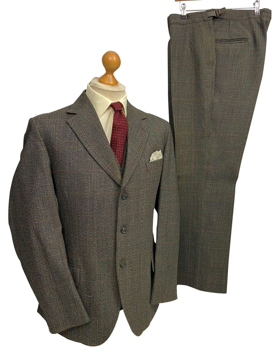 Original 1960s Grey Windowpane Check 3 Piece Men's Suit by 'Dunn & co'