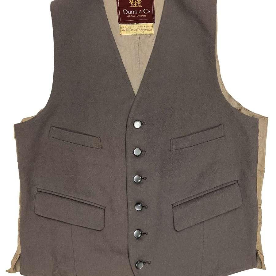 Original 1960s Men's Grey Doeskin Waistcoat by 'Dunn & Co'