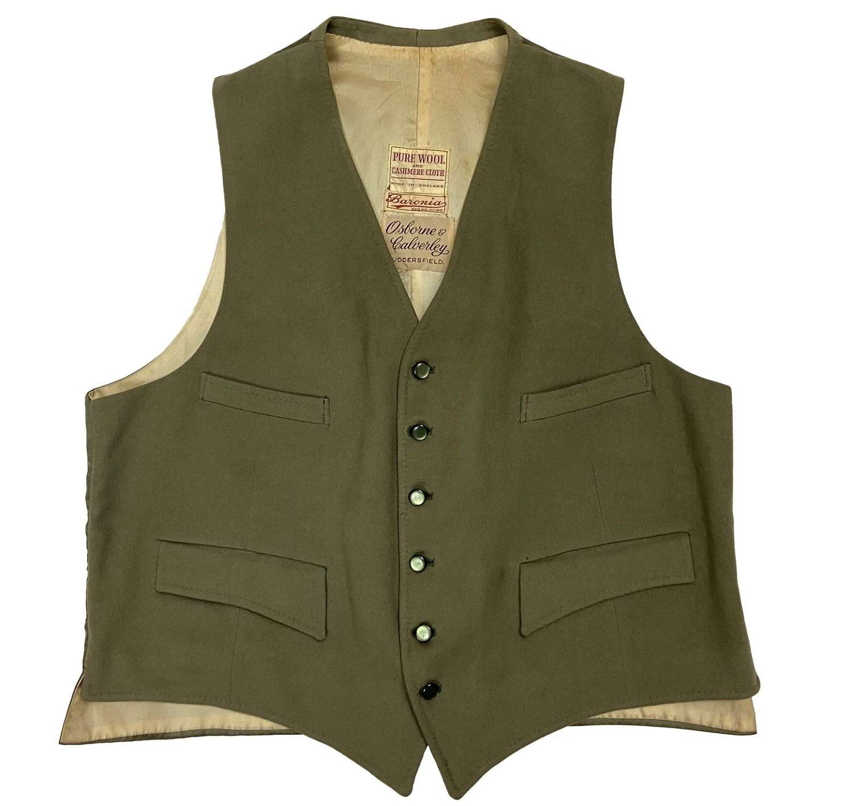 Original 1950s Sage Green Doeskin Waistcoat by 'Osborne & Calverley'