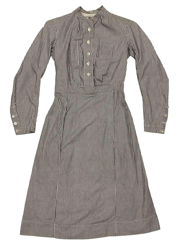 Vintage 1940s Ticking Cotton Nurses Dress